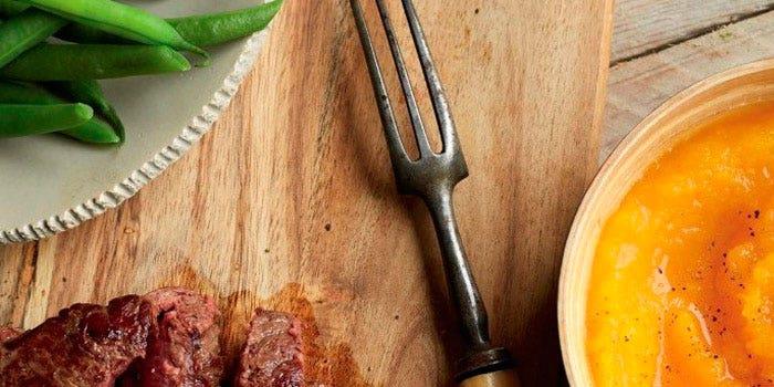 Steak à la purée de courge